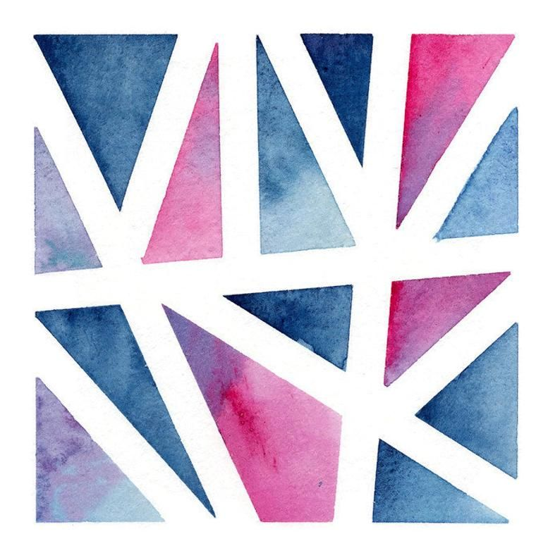 Blue Pink Shapes Original Watercolor Painting In 2020 Geometric
