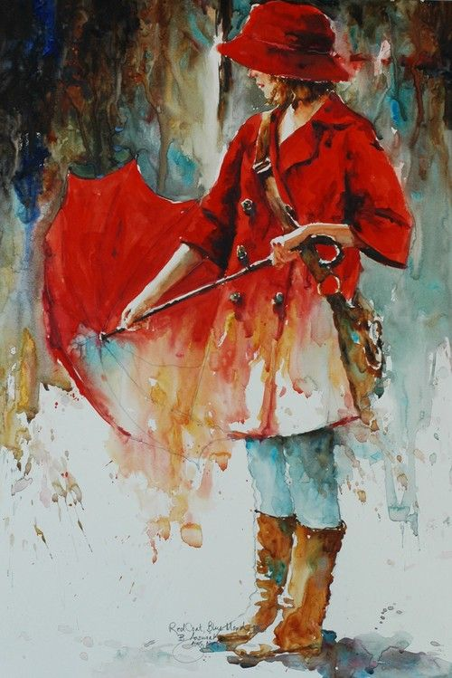 Red Coat Blue Mood By Bev Jozwiak Watercolor Painter Art