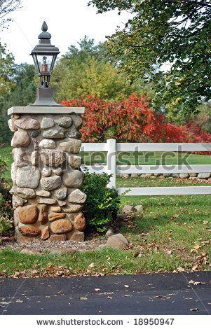 Driveway Lighting Ideas Entrance Stone Pillars