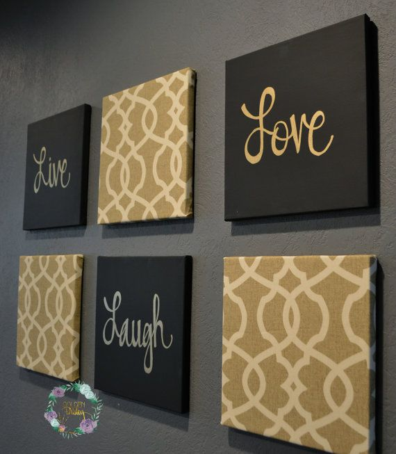 live laugh love wall art pack of 6 canvas wall hangings painting fabric upholstered large living room decor modern chic beige black gold - Canvas Wall Decor