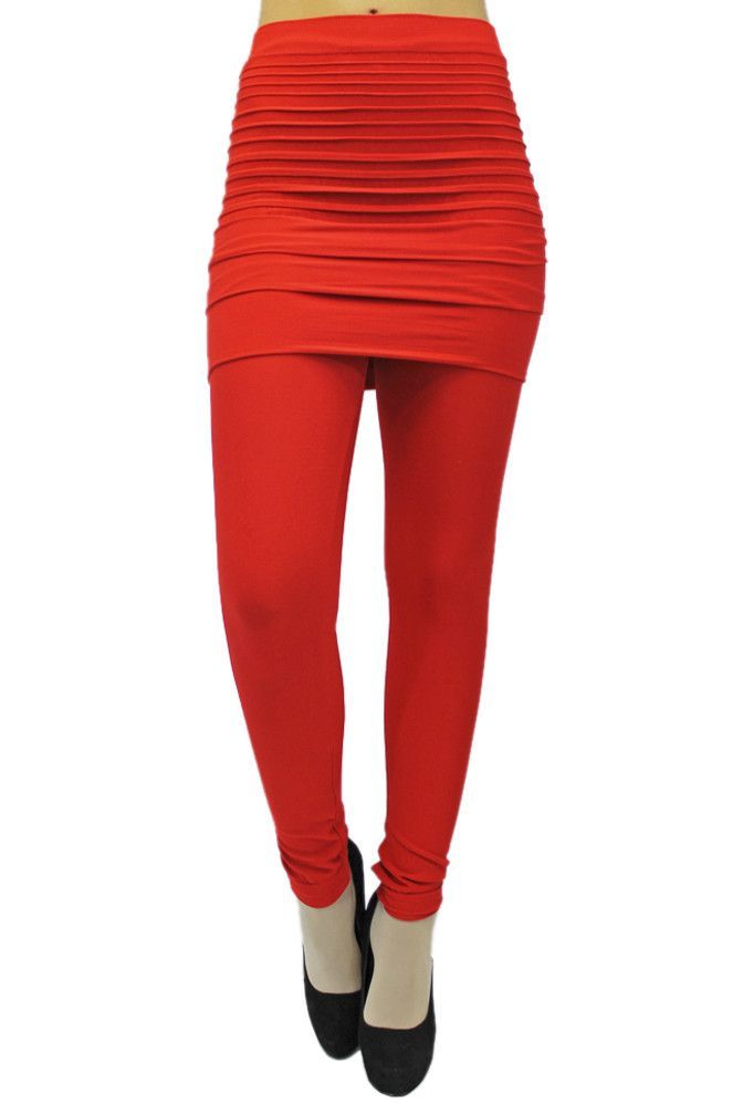 Stretch Leggings With Pleated Skirt
