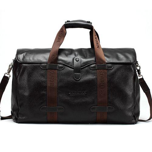 Leather Duffle Bag for Men Black Boston Bag Bostanten 10043 | Bags ...