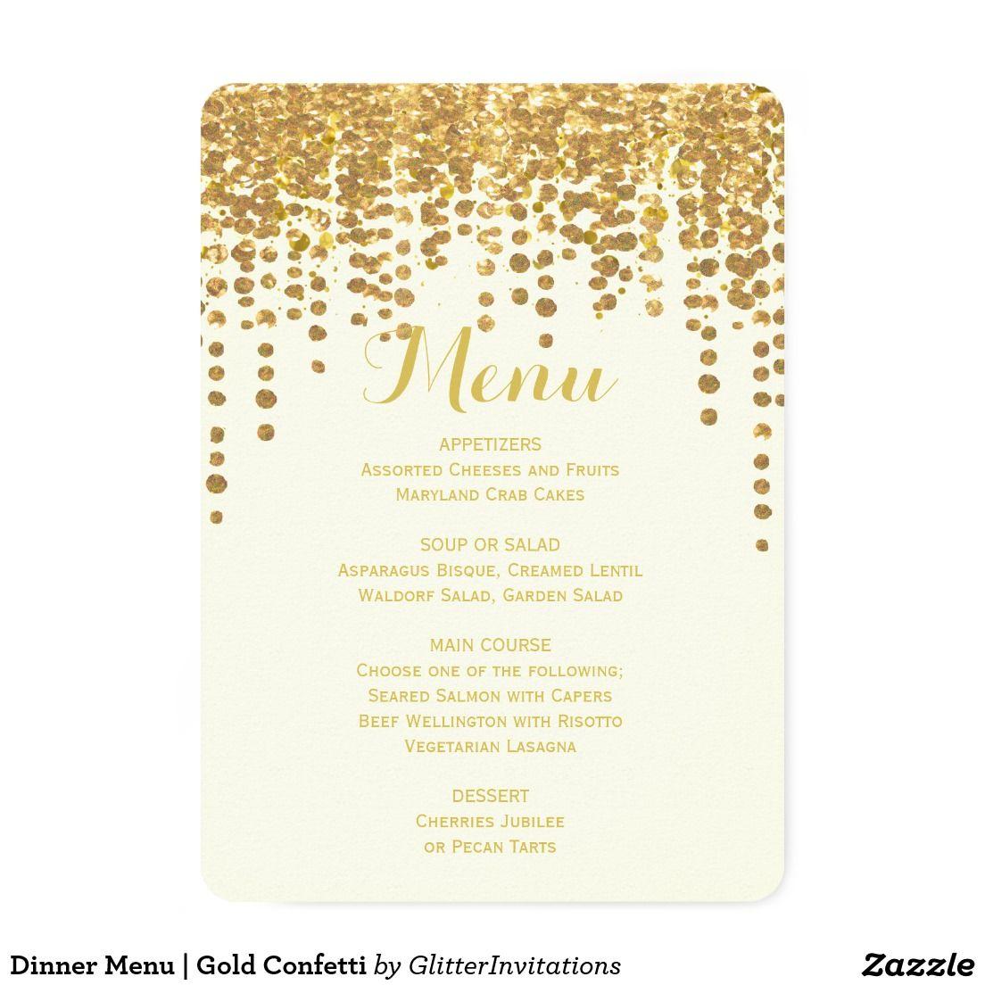Dinner Menu   Gold Confetti Card
