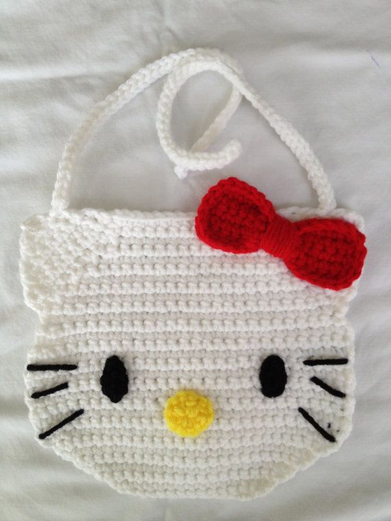 Crochet Hello Kitty Bib by ncrews on Etsy, $17.00 | Books Worth ...