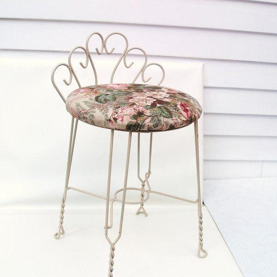 Merveilleux Vintage Metal Vanity Chair Bathroom Stool Painted Boudoir Makeup Chair  Barkcloth Fabric