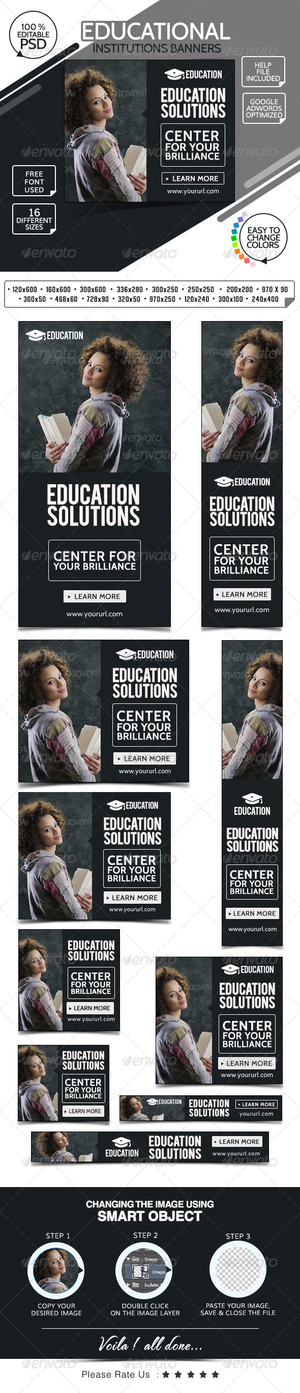 College & Education Web Banners Template PSD | Buy and Download ...