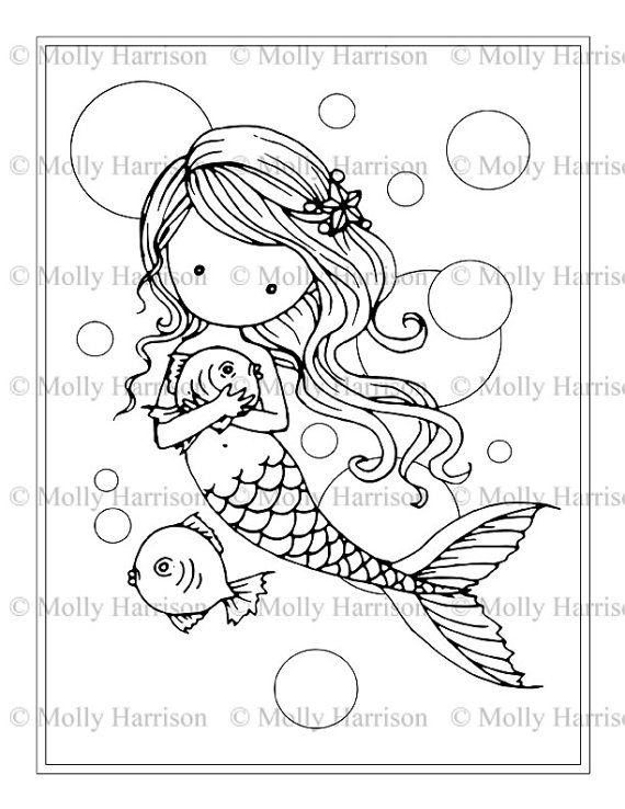 Mermaid Wit Fish And Bubbles Coloring Page Printable Whimsical Cute Mermaids Molly Harrison Fantasy Art Instant Download Unicorn Coloring Pages Mermaid Coloring Mermaid Coloring Pages