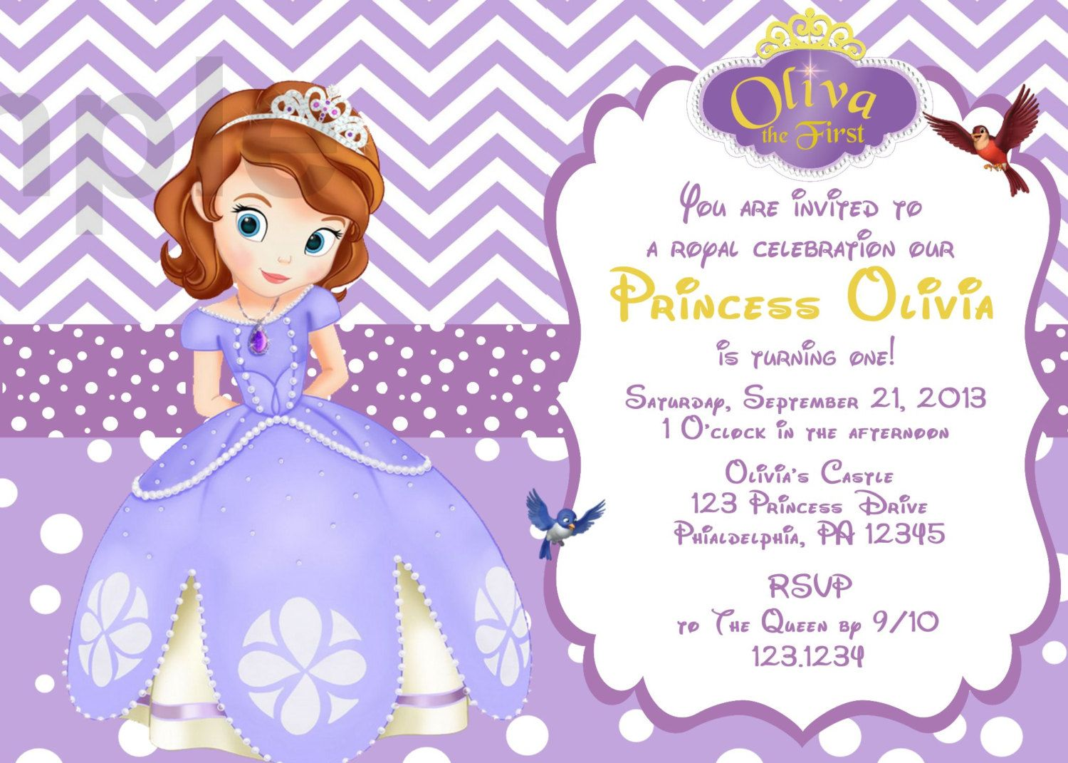 Sofia The First Invitations Templates