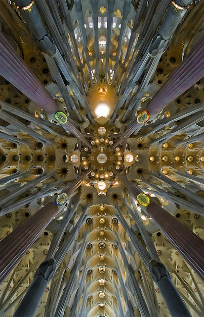 Gaudi...SO ahead of his time. The man just used Barcelona as his canvas. Work began in 1882 and should be completed in 2026 .. this is the crossing and dome of the Sagrada Família basilica, Barcelona. I'm not religious but I'd convert to whatever this church is.