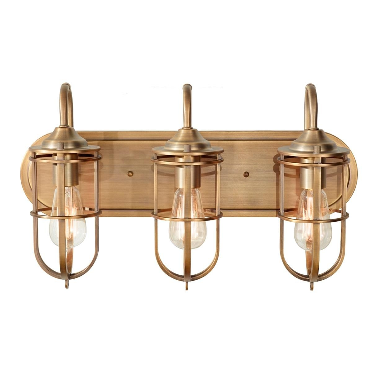 Nautical cage bath light 3 light bath light industrial style nautical cage 3 light bath light restoration and industrial style merge in this quality bath light made of steel and finished in heirloom brass aloadofball Images