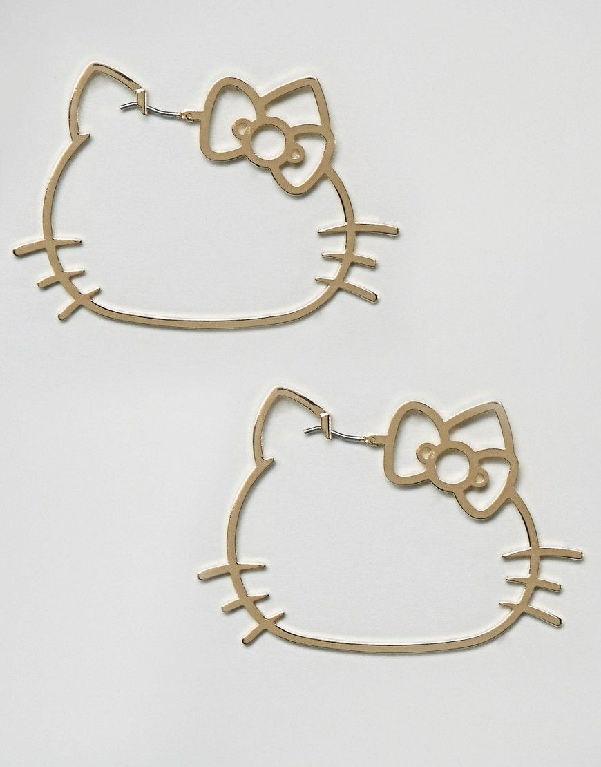 Hello Kitty X ASOS Cut Out Hoop Earrings - Gold | Decorating ...