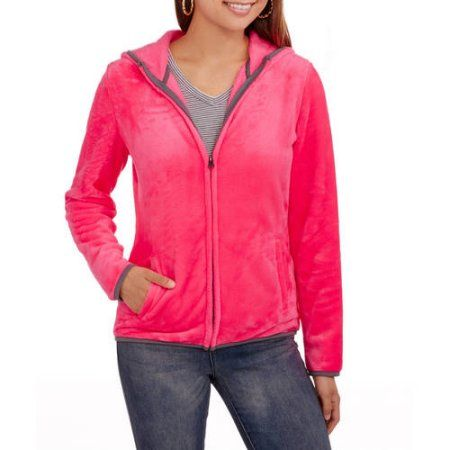 No Boundaries Juniors' Super Soft Fuzzy Hooded Fleece Jacket, Size ...