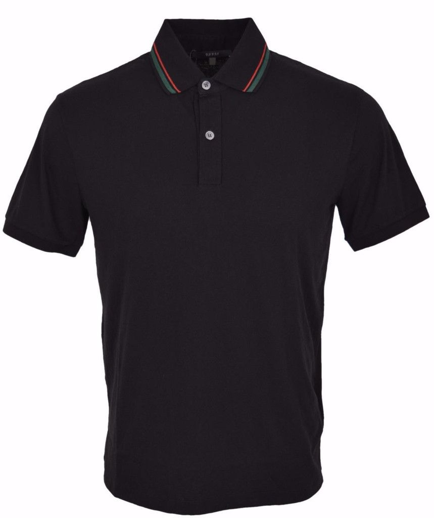 edbcb8194 New Gucci Men's 357246 Black Cotton Jersey Red Green Web SLIM Polo Shirt XL