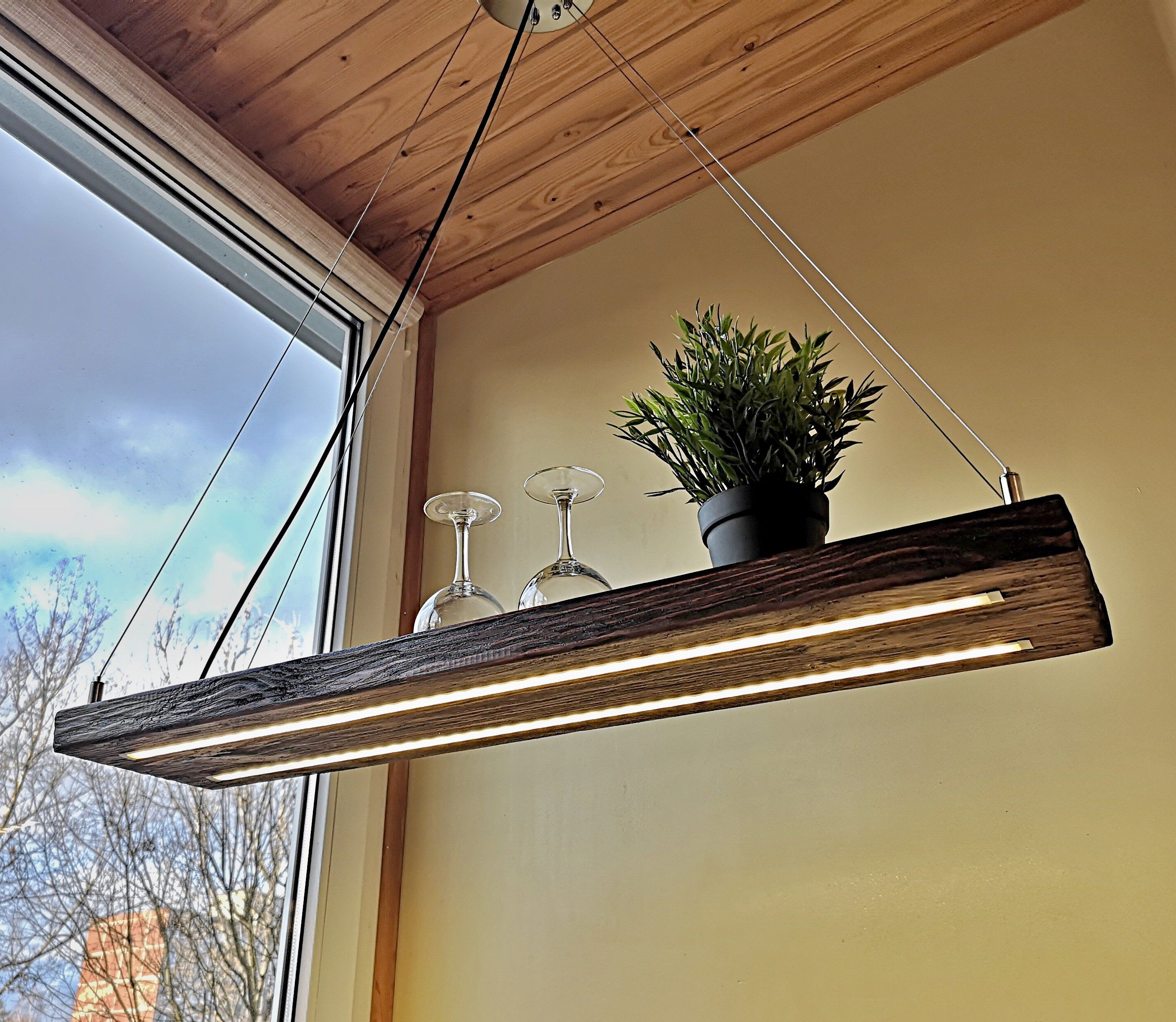 Led Long Wooden Light Hanging Light Rustic Lighting