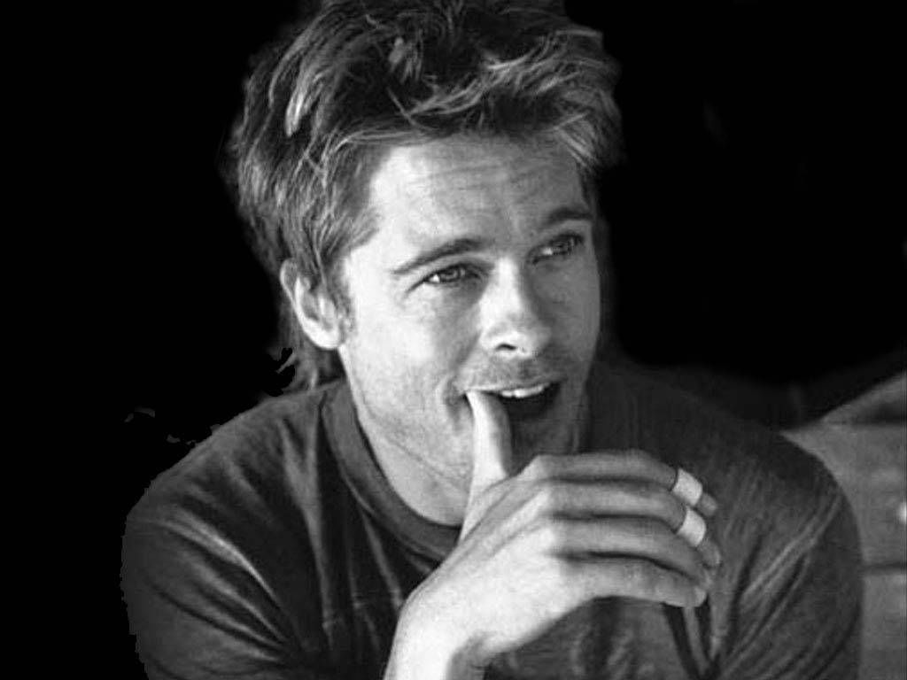 old black and white celebrity photography - Brad Pitt