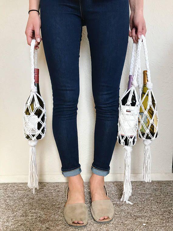Macrame Wine Tote // Wine Gift Bag // Wine Accessories // Wine   Etsy