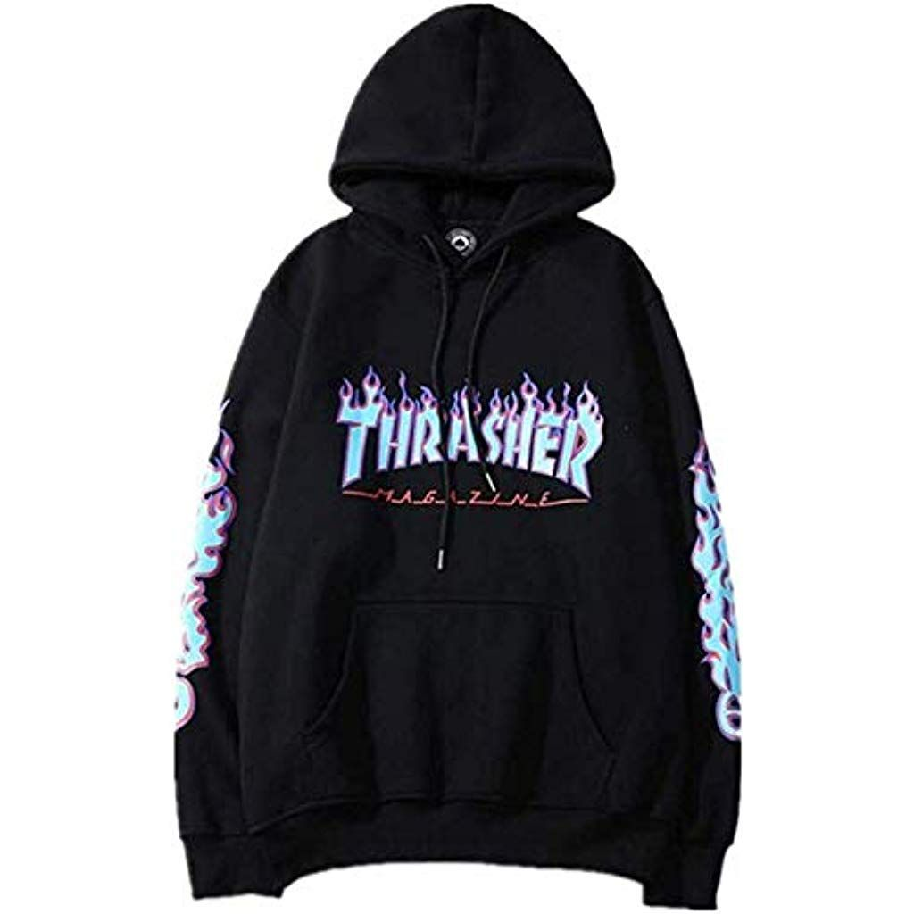 Fashion Flame Print Plus Velvet Pullover Hoodie for Men