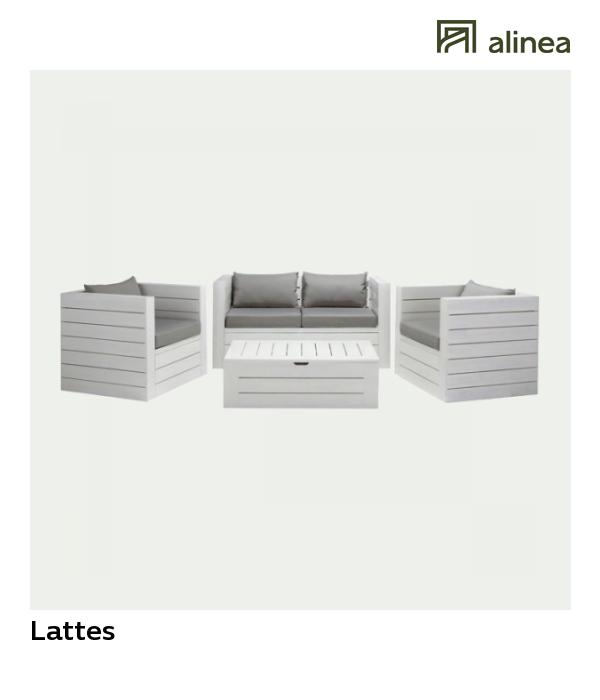 Lattes Salon de jardin blanc et gris en acacia (4 places)