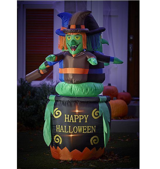 Outdoor Inflatable Blow Up Halloween Witch Cauldron Yard