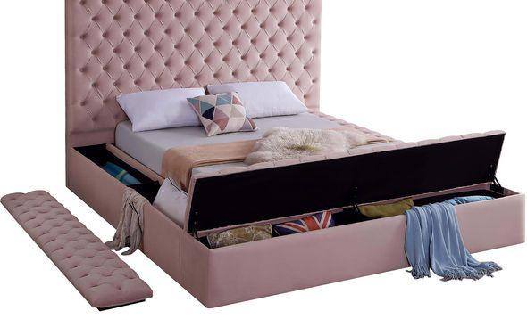 Meridian Bliss Pink  Velvet Tufted Full Bed W/ Sto