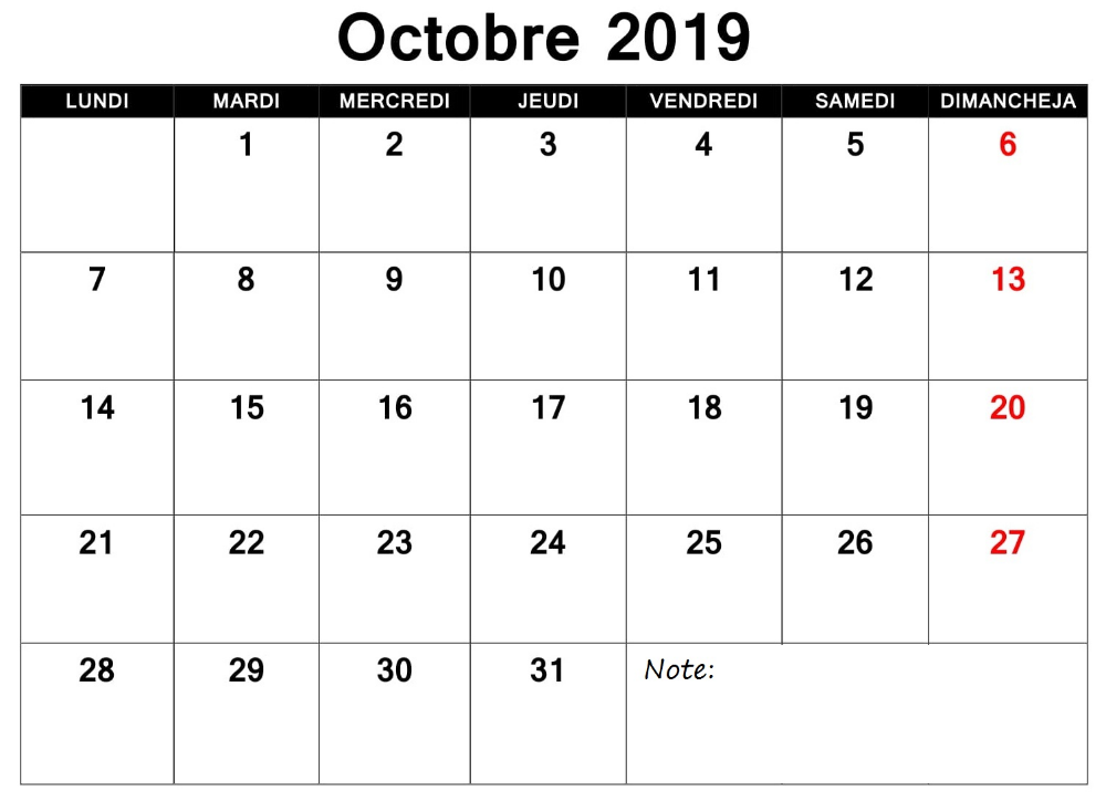 Calendrier 2019 Octobre PDF Periodic table