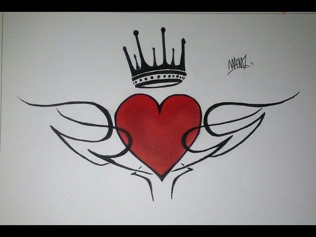 Como Dibujar Un Corazon Con Tribal Y Corona Doodle Art For Beginners Music Notes Drawing Art Drawings Simple