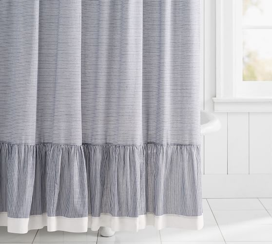 Mini Stripe Ruffled Shower Curtain Ruffle Shower Curtains
