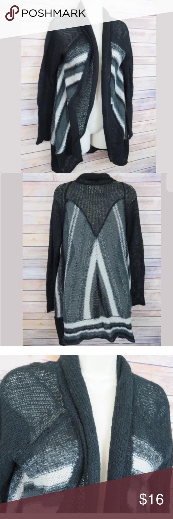 Aventura patterned thin open cardigan sweater Aventura black gray ...
