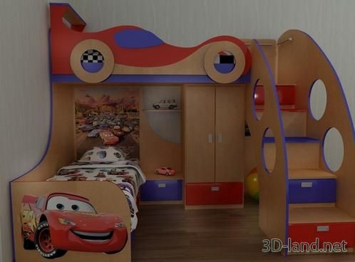 Kids Bedroom 3d Model 3d model children's bunk bed 2 | for the home - kids bedroom and