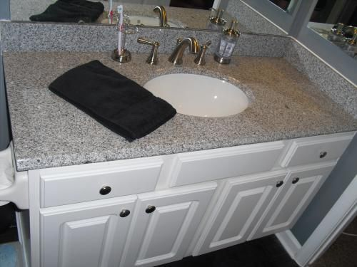 Home Decorators Collection 49 In W Granite Vanity Top In Rushmore Grey With Backsplash And Optional Sidesplash Hg49228rg The Home Depot Granite Vanity Tops Vanity Tops With Sink Solid Surface Vanity Top