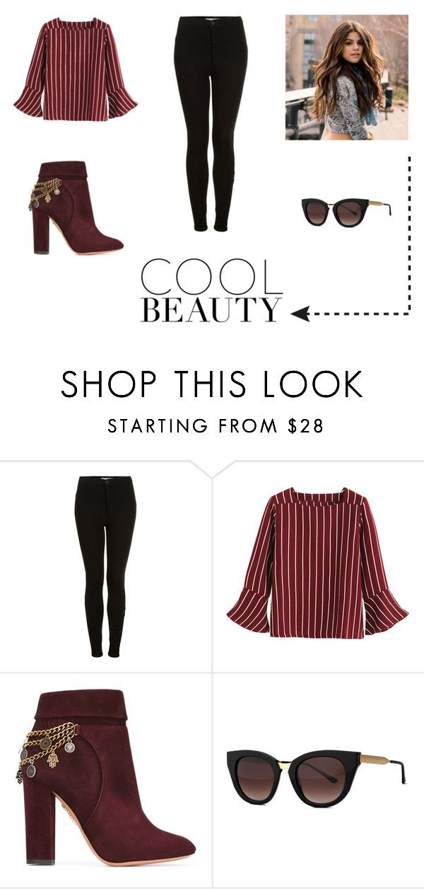 """""""Sin título #42"""" by paulivarela ❤ liked on Polyvore featuring Topshop, Aquazzura and Thierry Lasry"""