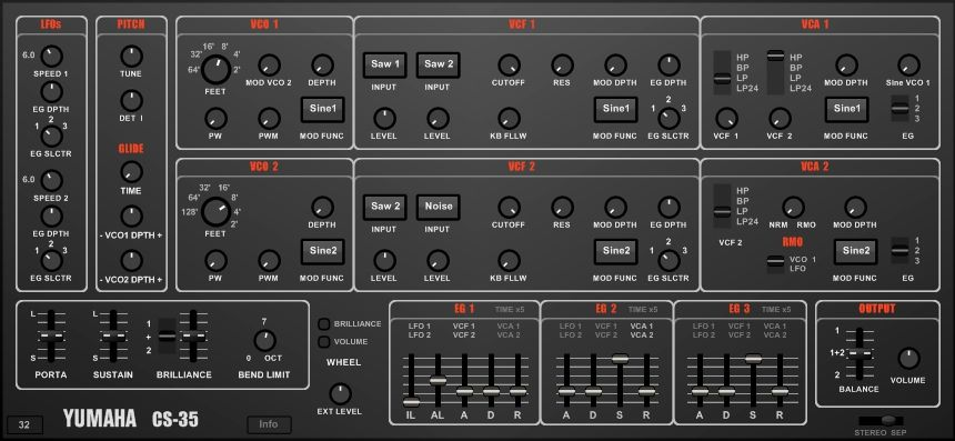 Yumaha CS35  A hybrid vst blending the Yamaha CS30L and the
