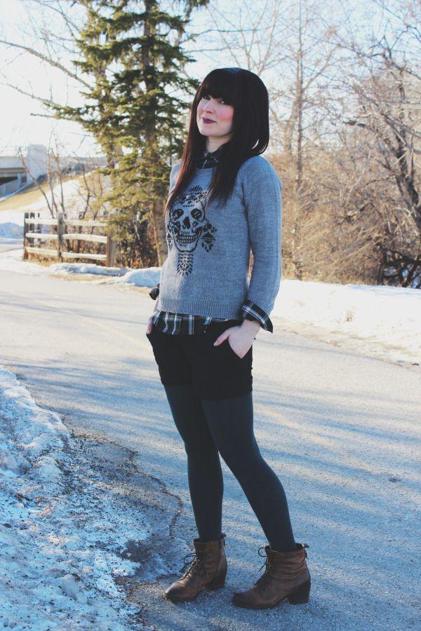Obey sweater dark lipstick
