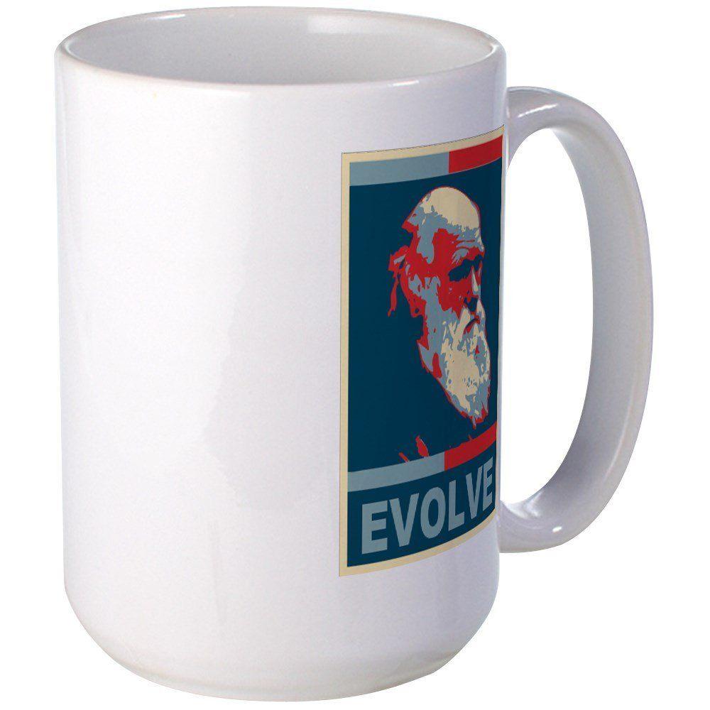 CafePress - Darwin Evolve, Obama Style - Coffee Mug, Large ...