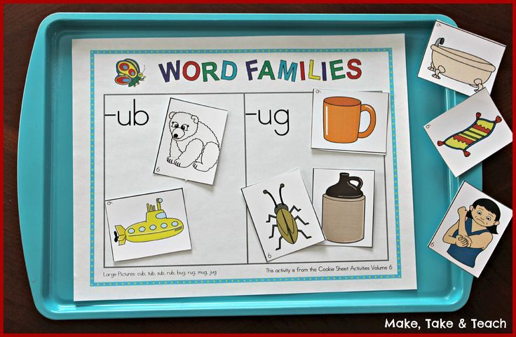 Cookie sheet activities for learning word families