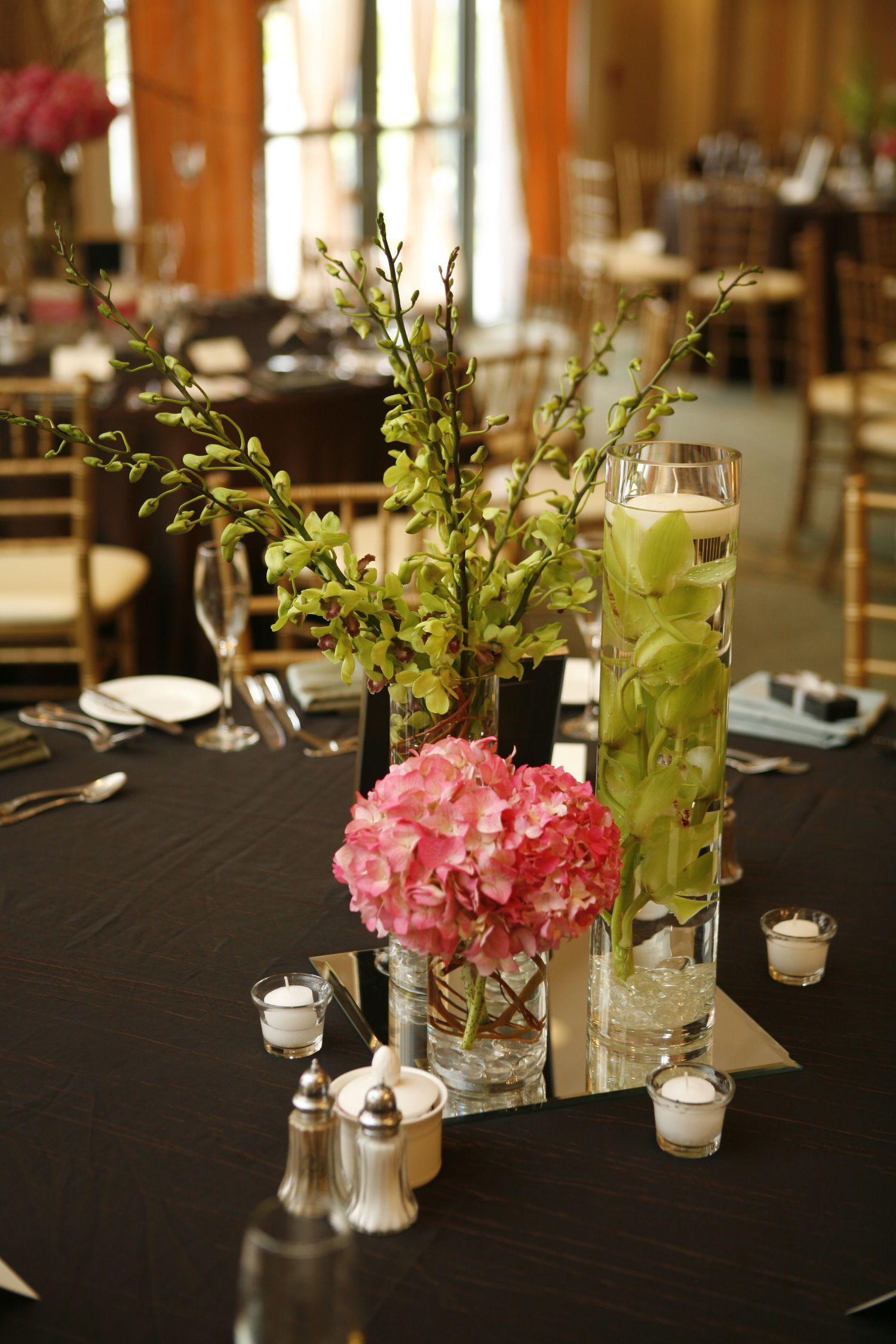 Elegant Trio: <span>Cylinder vase grouping of pink hydrangea, green  cymbidium and