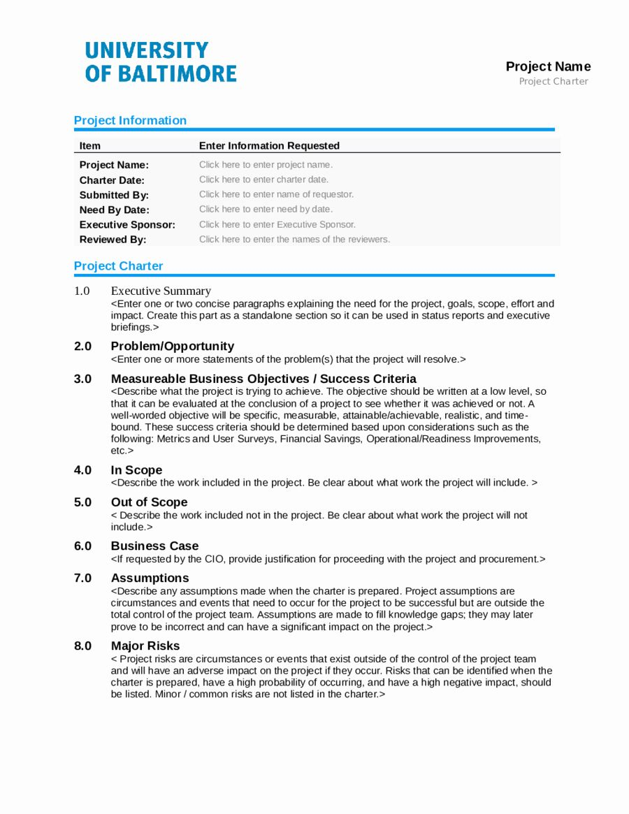 Project Charter Example Pdf Lovely 2019 Project Charter