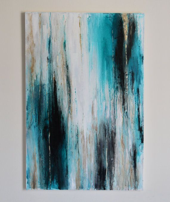 36 X 24 Abstract Painting Blue Black White 12kt Gold Abstract Art Painting Abstract Art Painting Diy Abstract Painting