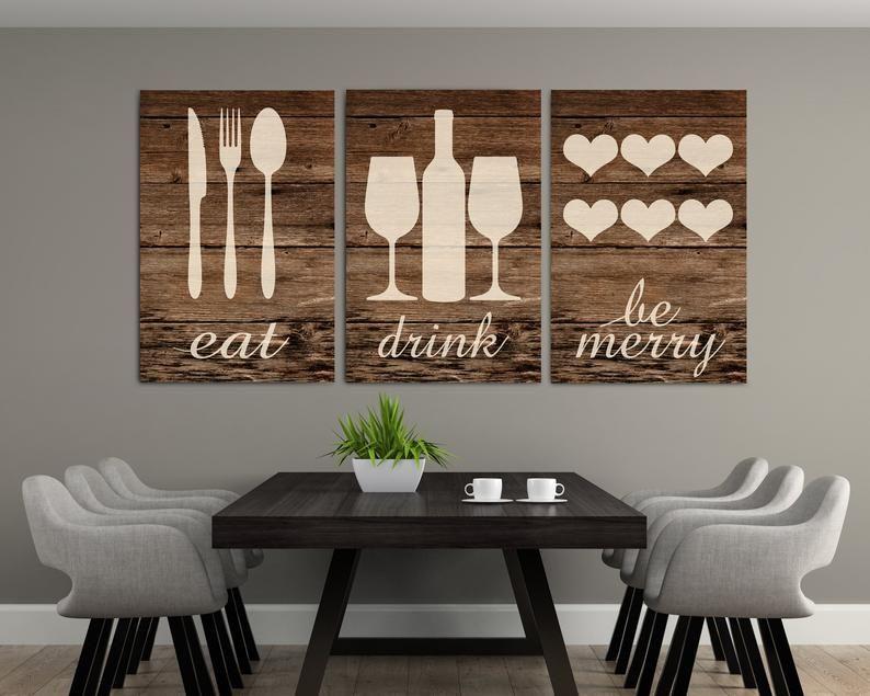 Rustic Eat Drink Be Merry Eat Wall Art Eat Sign Rustic Eat Etsy Kitchen Wall Decor Kitchen Wall Art Wall Decor