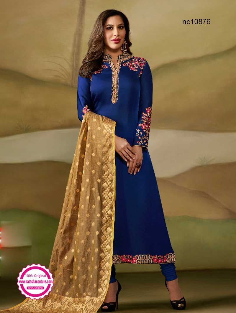 4db202f4a8 Sophie Choudry Dark Blue Satin Georgette Straight Cut Suit - Suits Online  Shopping | Buy designer salwar suits at www.natashacouture.com | ❤ Call ...