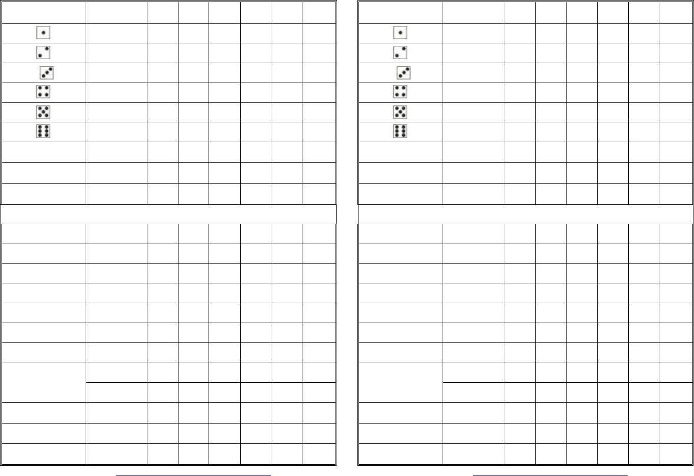 Yahtzee Score Sheets  Games    Scores And Free