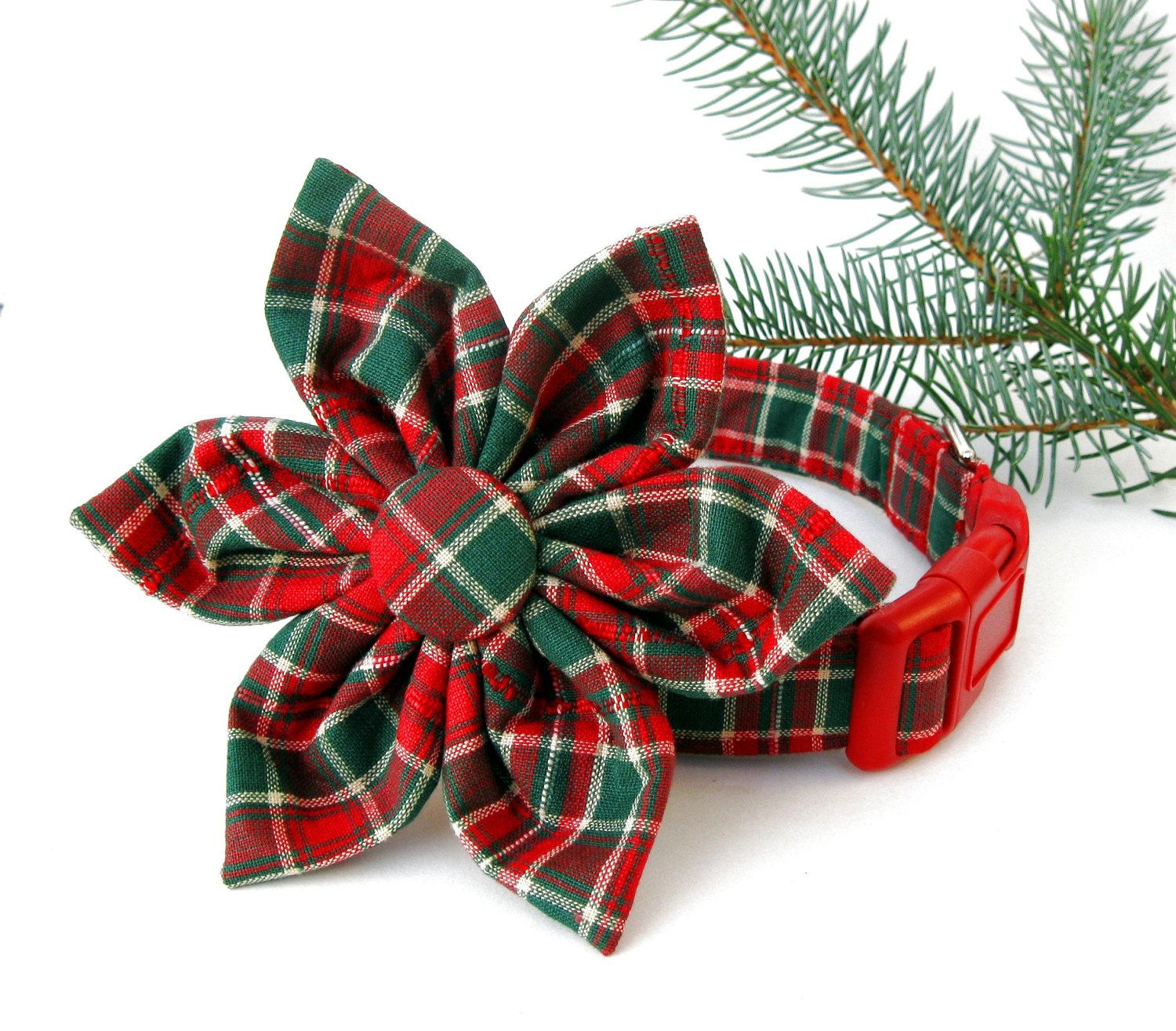 Christmas plaid dog collar with flower accessory fabric
