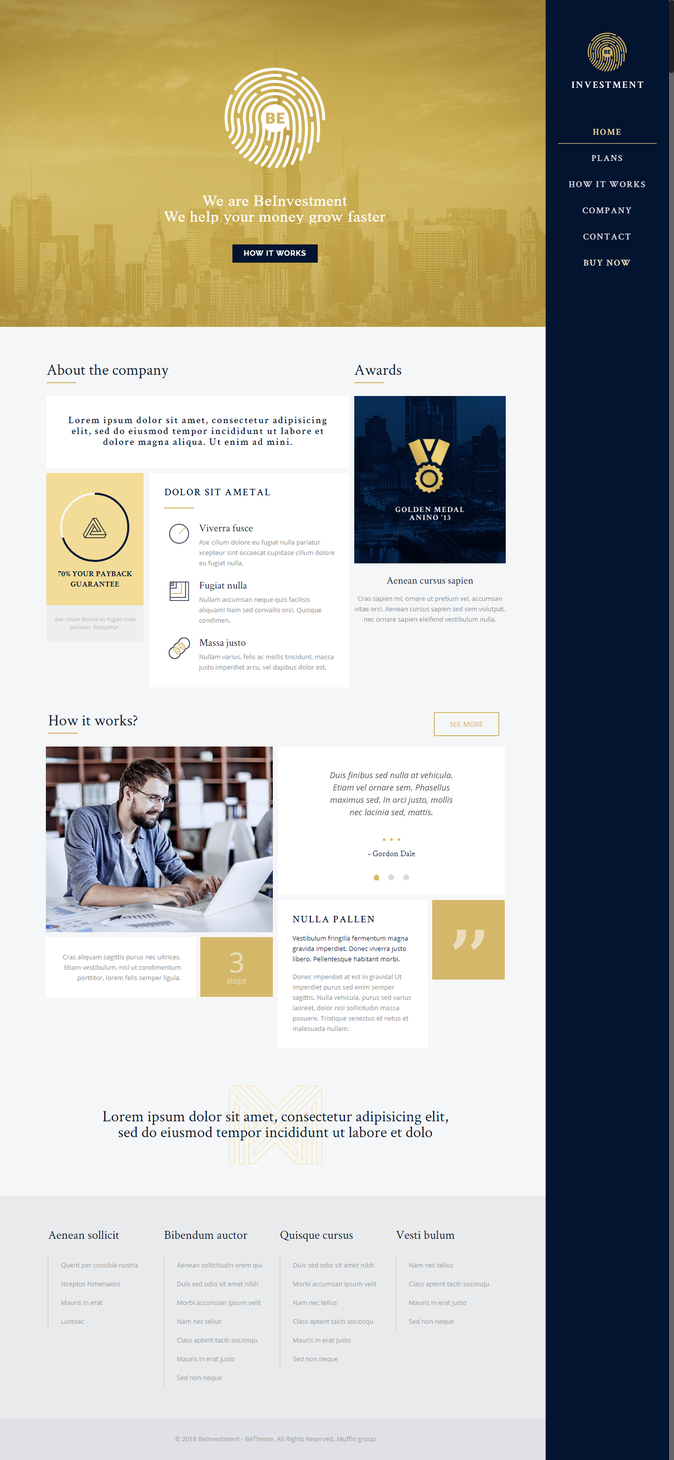 Betheme Responsive Multi Purpose Wordpress Theme Gold Website