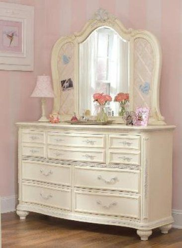 Jessica Mcclintock Romance Dresser Drawer Chest Bureau Mirror Lea