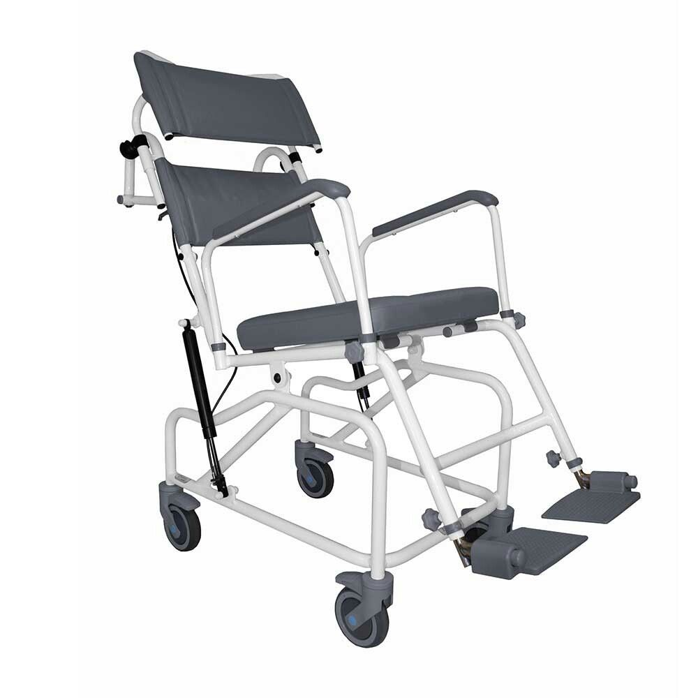 Aquamaster Tilt In Space Shower Commode Chair Offers A Safe Controlled And Comfortable Showering Positio Shower Commode Chair Commode Chair Shower Wheelchair