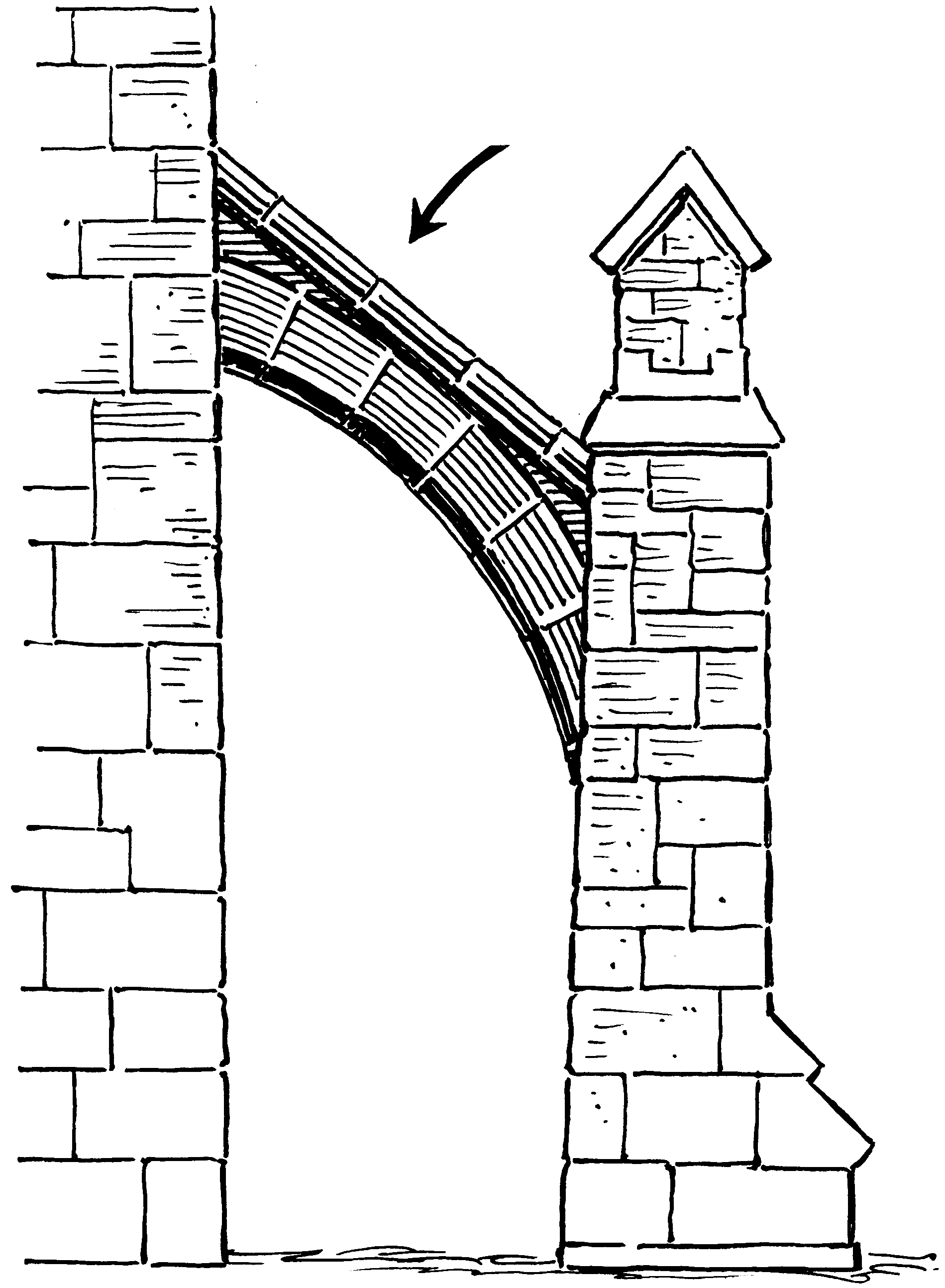 Buttress Flying Buttress Gothic Windows Architecture Sketch