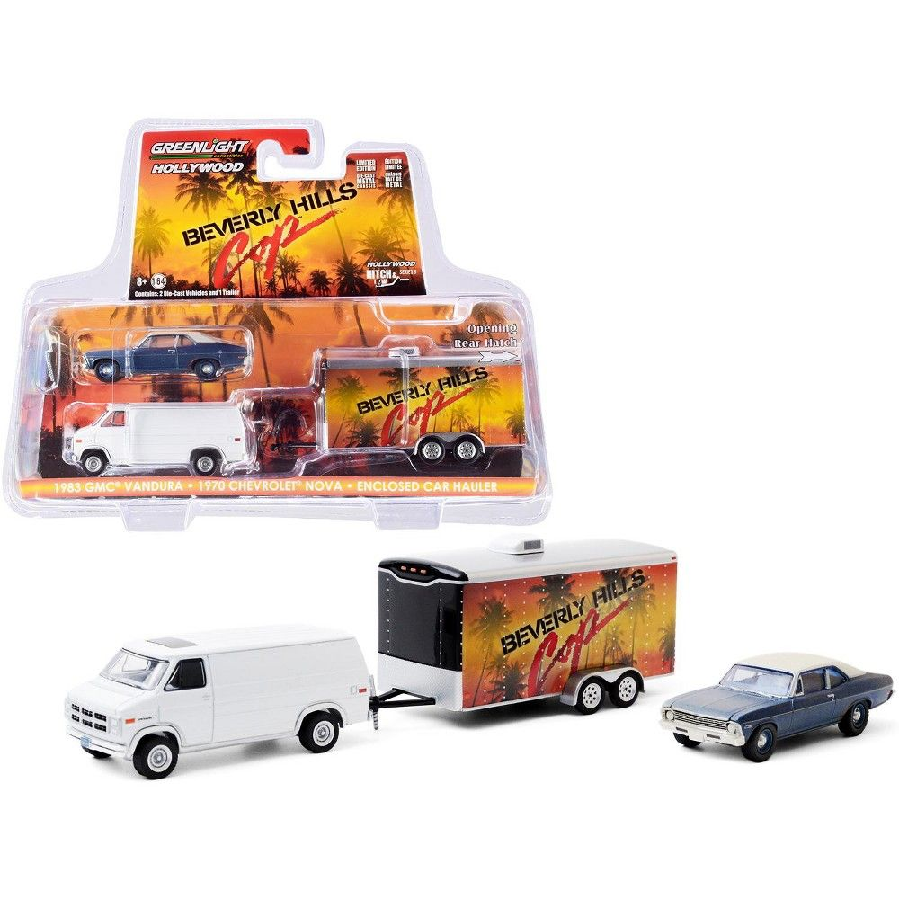Brand new 1/64 scale diecast car models of 1983 GMC Vandura Van White with 1970 Chevrolet Nova Blue with Cream Top (Unrestored) and Enclosed Car Hauler