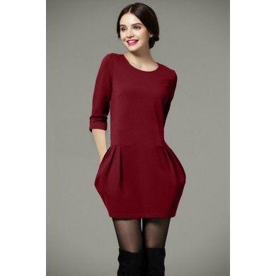 robe classique mode pour femme avec col rond pour les ladies pinterest. Black Bedroom Furniture Sets. Home Design Ideas