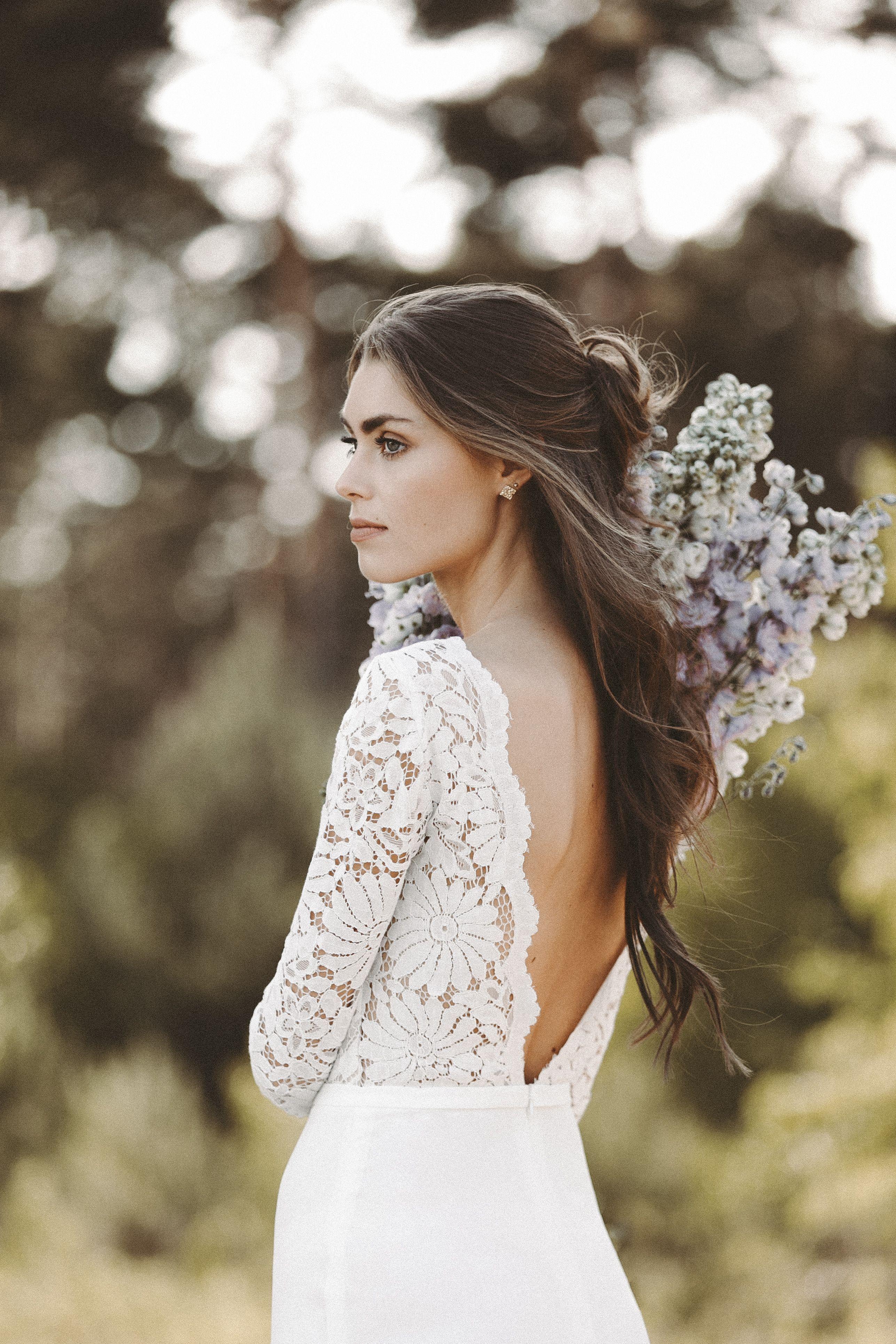Brautkleid lange Spitzen rmel R ckenausschnitt Boho