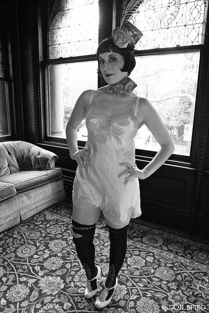 Diane before cigarette girl duty at Dances of Vice - Montauk Club...1920s onesie, stockings from 1910s withe lace insets, Hey Sailor! hat and silk ribbon neckpiece